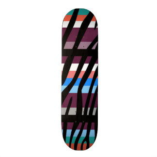 Retro Color Zebra Stripe Pattern Skateboard Deck