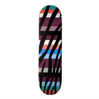 Retro Color Zebra Stripe Pattern Skateboard Deck