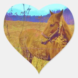 Retro Colored Horse Heart Sticker