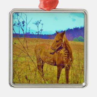 Retro Colored Horse Metal Ornament
