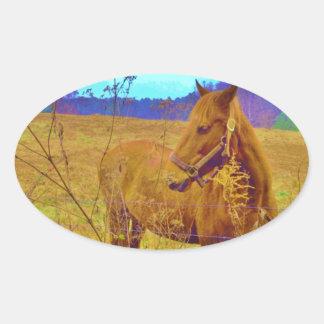 Retro Colored Horse Oval Sticker
