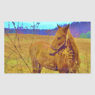 Retro Colored Horse Rectangular Sticker