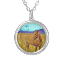 Retro Colored Horse Silver Plated Necklace
