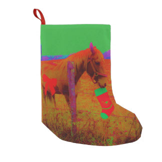 retro colored red bow Horse Small Christmas Stocking