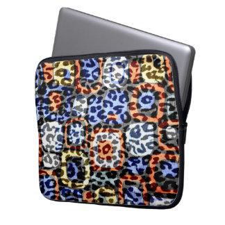 Retro colorful animal print fur of leopard laptop sleeve