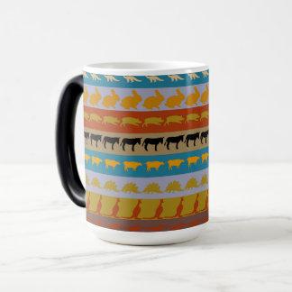 Retro Colorful Animals Modern Stripes Pattern #11 Magic Mug