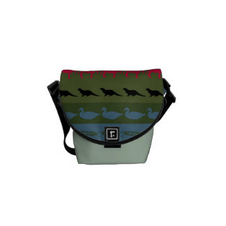 Retro Colorful Animals Modern Stripes Pattern #11 Messenger Bag