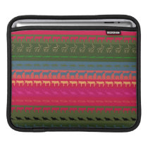 Retro Colorful Animals Modern Stripes Pattern #12 iPad Sleeve