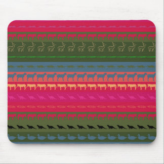 Retro Colorful Animals Modern Stripes Pattern #12 Mouse Pad