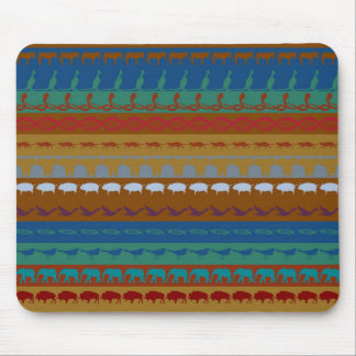 Retro Colorful Animals Modern Stripes Pattern #13 Mouse Pad