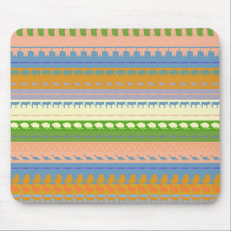 Retro Colorful Animals Modern Stripes Pattern #15 Mouse Pad