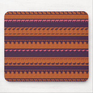 Retro Colorful Animals Modern Stripes Pattern #16 Mouse Pad