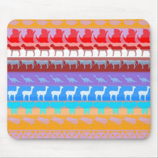 Retro Colorful Animals Modern Stripes Pattern #2 Mouse Pad