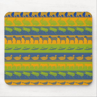 Retro Colorful Animals Modern Stripes Pattern #3 Mouse Pad