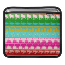 Retro Colorful Animals Modern Stripes Pattern #4 iPad Sleeve