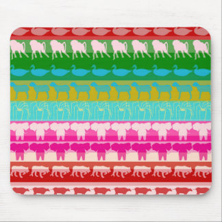 Retro Colorful Animals Modern Stripes Pattern #4 Mouse Pad