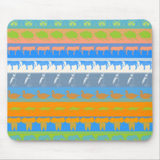 Retro Colorful Animals Modern Stripes Pattern #5 Mouse Pad