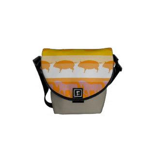 Retro Colorful Animals Modern Stripes Pattern #6 Messenger Bag