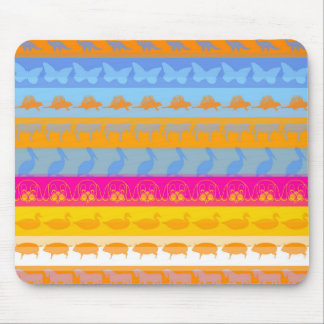 Retro Colorful Animals Modern Stripes Pattern #7 Mouse Pad