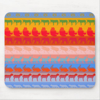 Retro Colorful Animals Modern Stripes Pattern #8 Mouse Pad