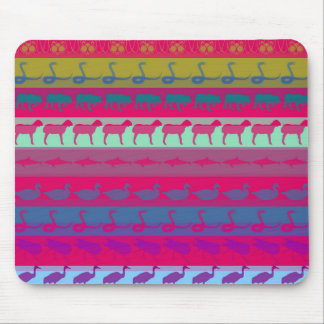 Retro Colorful Animals Modern Stripes Pattern #9 Mouse Pad