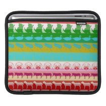 Retro Colorful Animals Modern Stripes Pattern Sleeve For iPads
