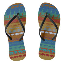 Retro Colorful Animals Pattern #6 Flip Flops