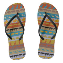 Retro Colorful Animals Pattern #8 Flip Flops