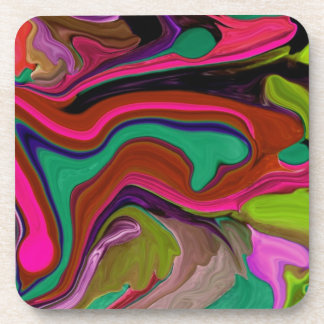 retro colorful art beverage coaster