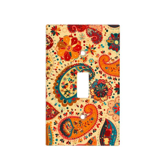 Retro Colorful Beautiful Boho Bohemian Paisley Light Switch Cover