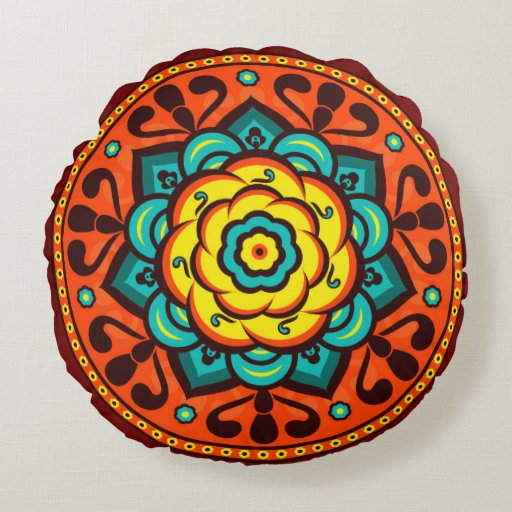 Retro Colorful Beautiful Boho Bohemian Round Pillow