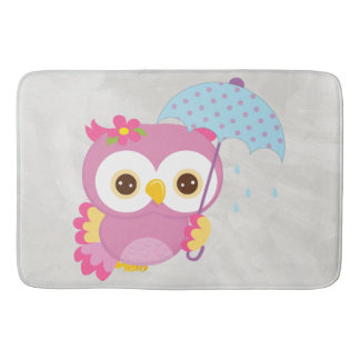 Retro Colorful Beautiful Spring Owl Bathroom Mat