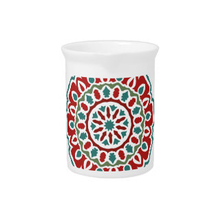Retro colorful bohemian abstract floral pattern drink pitcher