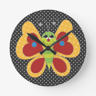 Retro Colorful Butterfly Round Wall Clock