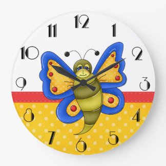 Retro Colorful Butterfly Wall Clock