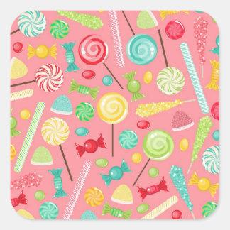 Retro Colorful Candy Pattern Square Sticker