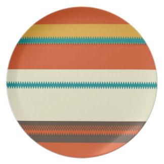 Retro Colorful Chevron Striped Pattern Plate