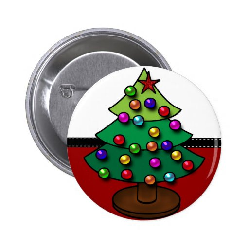 Retro Colorful Christmas Tree Buttons