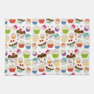 Retro Colorful Cupcake Pattern Hand Towel