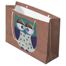 Retro Colorful Custom Owl Large Gift Bag