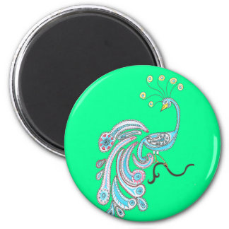 Retro Colorful Fantasy Peacock Drawing on Green Magnet