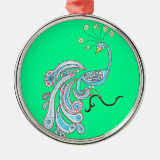 Retro Colorful Fantasy Peacock Drawing on Green Metal Ornament