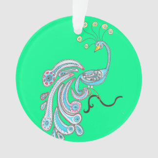 Retro Colorful Fantasy Peacock Drawing on Green Ornament