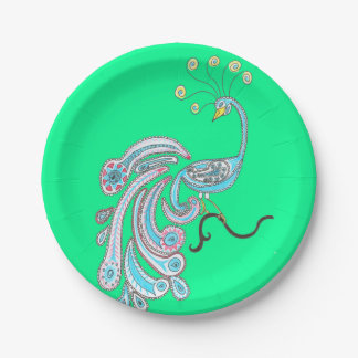 Retro Colorful Fantasy Peacock Drawing on Green Paper Plate