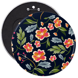 Retro colorful floral pattern illustration pinback button
