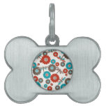 Retro Colorful Flower Dragonfly Pattern Pet Tag