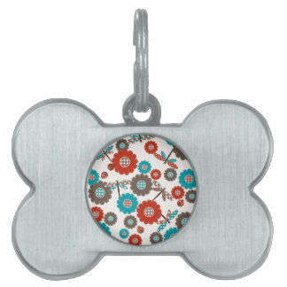 Retro Colorful Flower Dragonfly Pattern Pet Tags