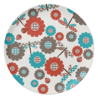 Retro Colorful Flower Dragonfly Pattern Plate
