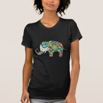 Retro Colorful Flower Elephant & Diamonds Pattern T-Shirt