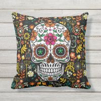 Retro Colorful Flowers & Sugar Skull Outdoor Pillow
